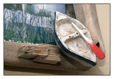 Close up of a wooden bot sculpture
