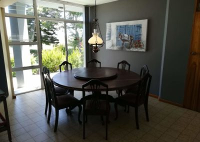 The dining table inside the self catering house
